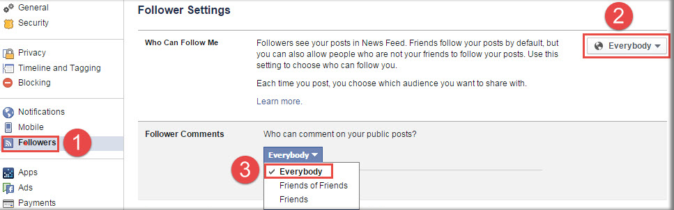 Facebook Comments Settings And Followers