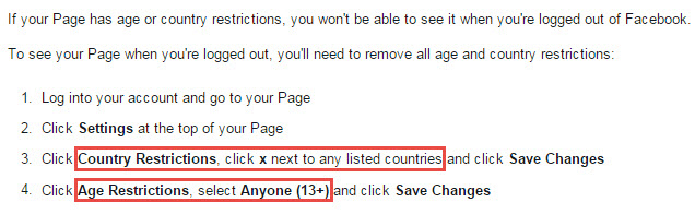 Turned Off Facebook Age And Country Restrictions